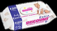Влажные салфетки Discount Extra с пластиковой крышкой для детей с экстрактом ромашки, 120 шт.