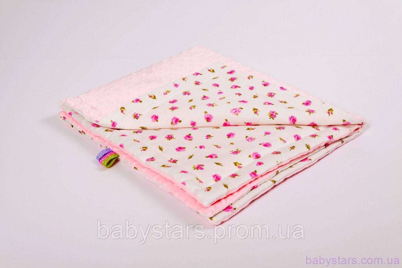 Детские пледы для новорожденных 78х85см с плюшем, Розовые розочки