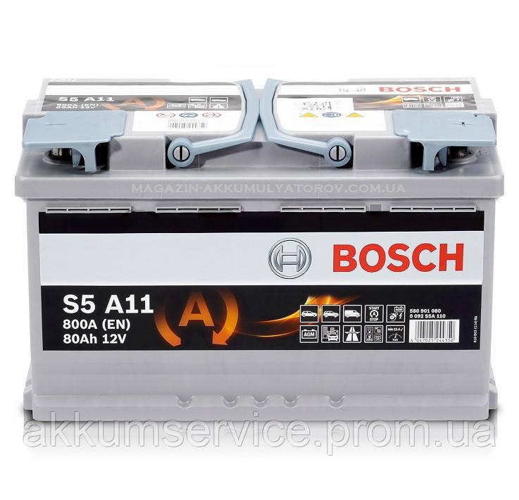 Аккумулятор автомобильный Bosch S6 Silver 80AH R+ 800А AGM