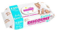 Влажные салфетки Discount Extra с пластиковой крышкой для детей с экстрактом календулы и витамином Е, 120 шт.