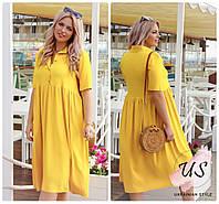 Свободное батальное летнее штапельное платье-рубашка . Цвета!, фото 1