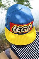 Детская кепка-конструктор для Lego синяя кепка с желтым козырьком