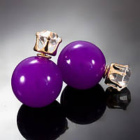 Серьги-пусеты Dior фиолетовые с камнями