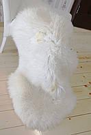 Шкура натуральная овечья,белая, кожаный ковер 120*75 см