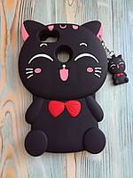 Резиновый объемный 3D чехол дляHuawei Y6 Pro 2017 / P9 lite mini Черный котик