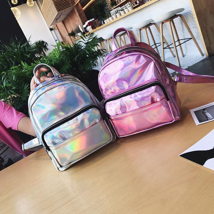 Женский рюкзак Мини Голограммный - в стиле Glamour 🎁 В подарок браслет и кукла