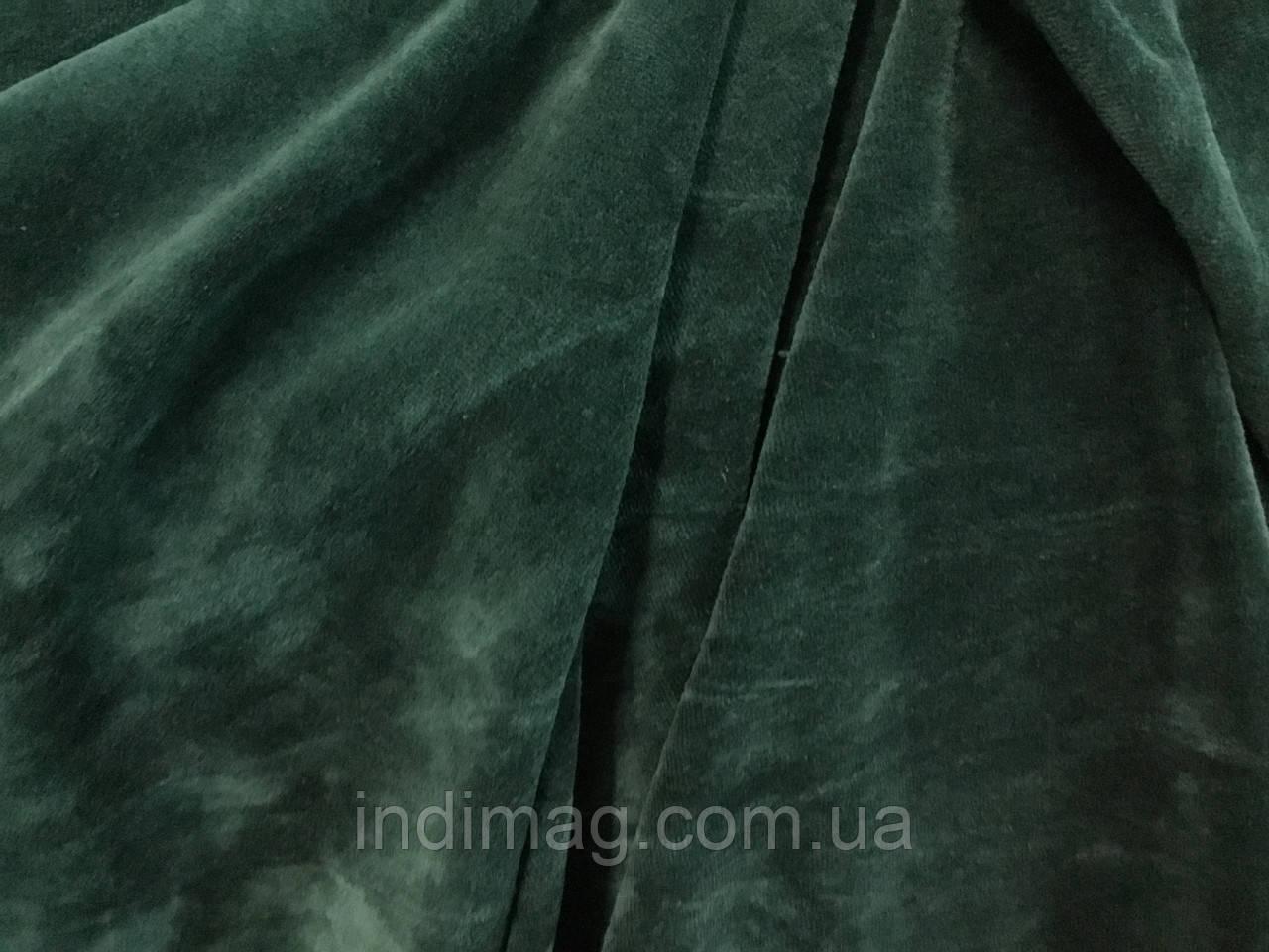 Велюр хлопок  5 метров изумрудный зелёный