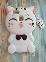 Резиновый объемный 3D чехол дляHuawei Y6 Pro 2017 / P9 lite mini Белый котик