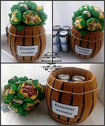 Їстивний букет на 4 банки пива. Съедобный букет, пивной торт Подарок мужу,другу, папе,брату,подруге,куме,парню