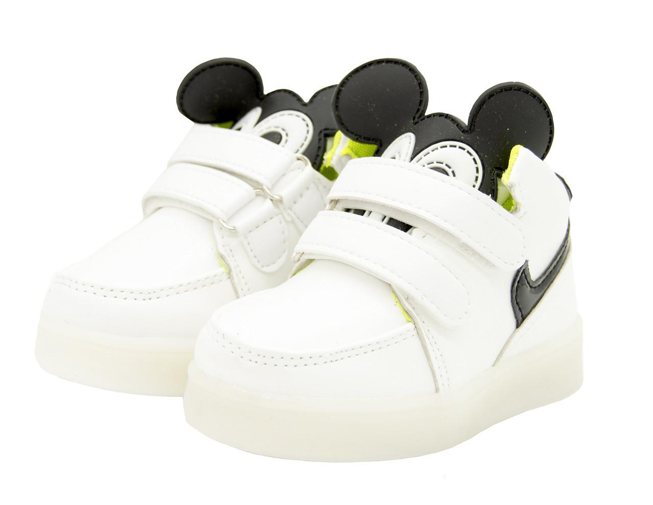 Кроссовки детские светящиеся белые Размеры: 23