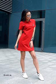 Летнее платье - поло с коротким рукавом прямого кроя с воротником 55plt3083