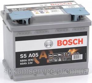 Аккумулятор автомобильный Bosch S6 Silver 60AH R+ 680А AGM (S5 A05)
