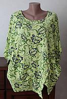 Блуза женская цветы с разрезом