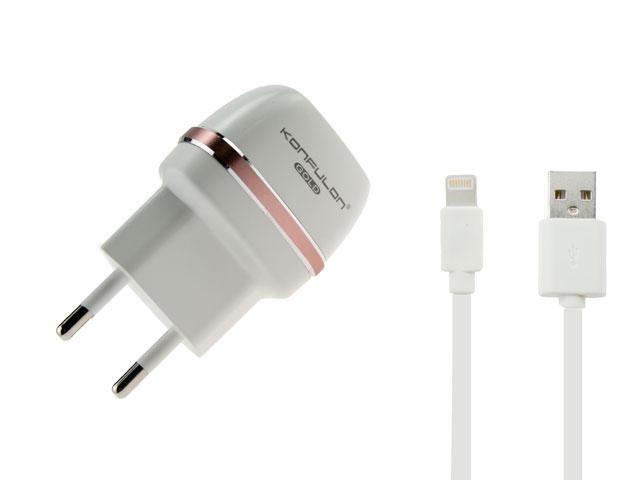 Сетевое зарядное устройство Konfulon C31+S05(Lightning Cable) 2USB/2,1A