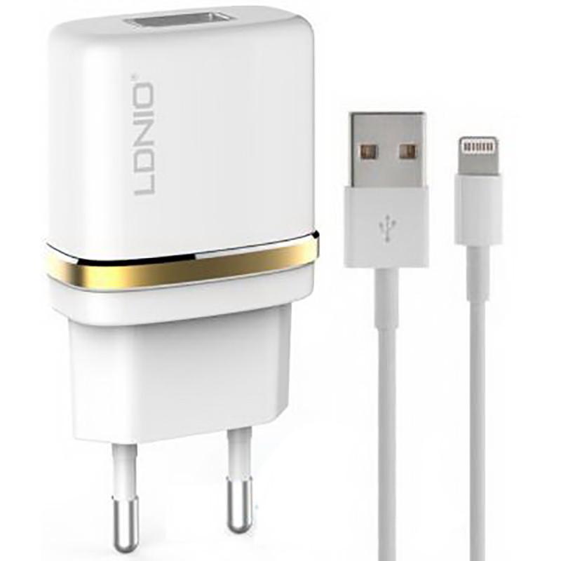 Мережевий зарядний пристрій LDNIO DL-AC50 1USB/1A + iPhone5 - X