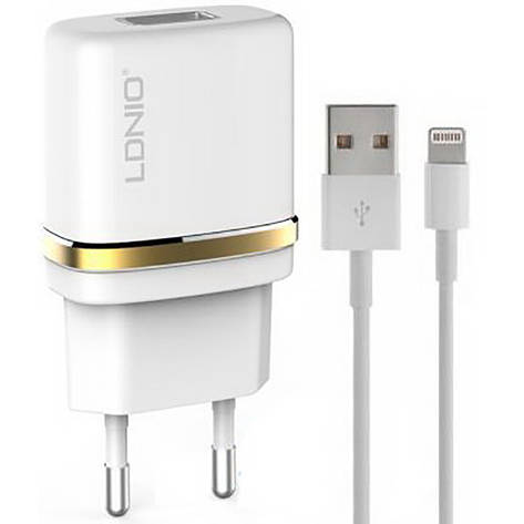 Сетевое зарядное устройство LDNIO DL-AC50 1USB/1A + iPhone5 - X, фото 2