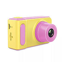 🔝 Детский цифровой фотоаппарат Summer Vacation Cam 3 mp фотоаппарат для ребенка, Жёлто-розовый | 🎁%🚚