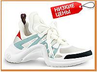 Женские стильные кроссовки Louis Vuitton Sneakers White Blue Red (Луи Витон, белые / голубые / красные)