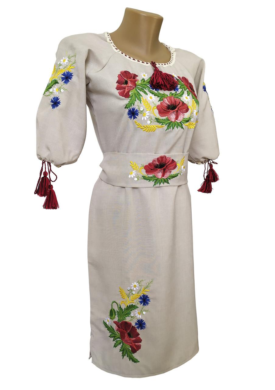 Вишита сукня із льону на короткий рукав приталеного фасону «Мак-волошка»