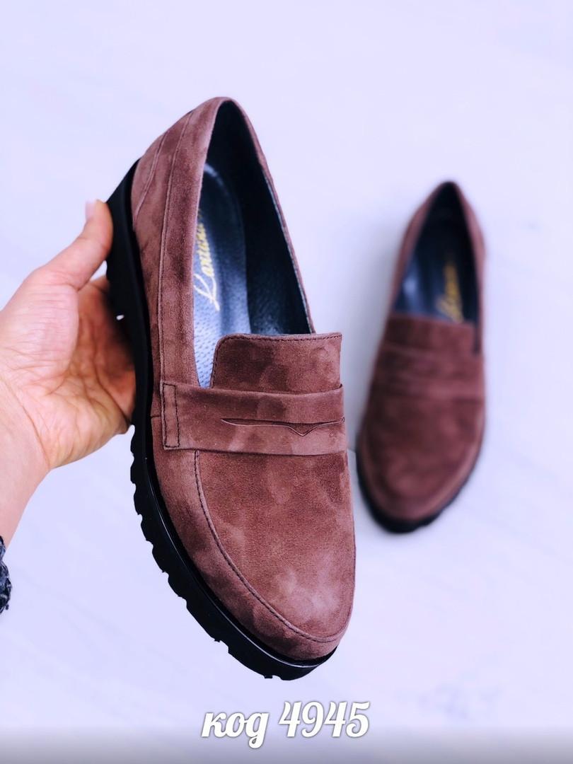 40р. Туфли лоферы женские коричневые замшевые на низком ходу,низкий ход,из натуральной замши,натуральная замша
