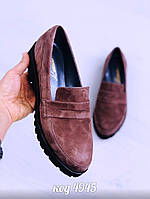 40р. Туфли лоферы женские коричневые замшевые на низком ходу,низкий ход,из натуральной замши,натуральная замша, фото 1