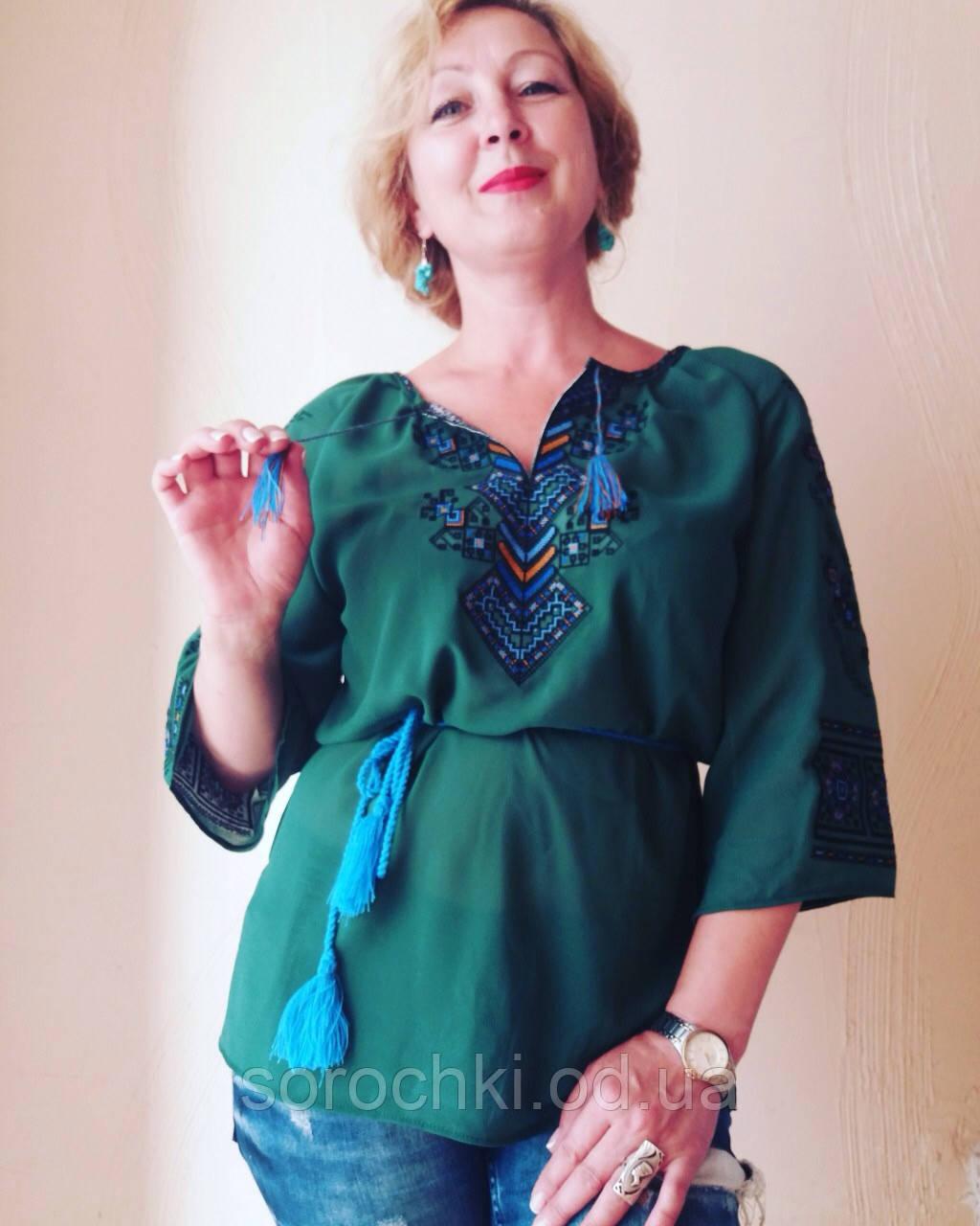 """Рубашка вышиванка, женская, светло-зеленая, узор """" Берегиня"""", короткий рукав, шифон"""