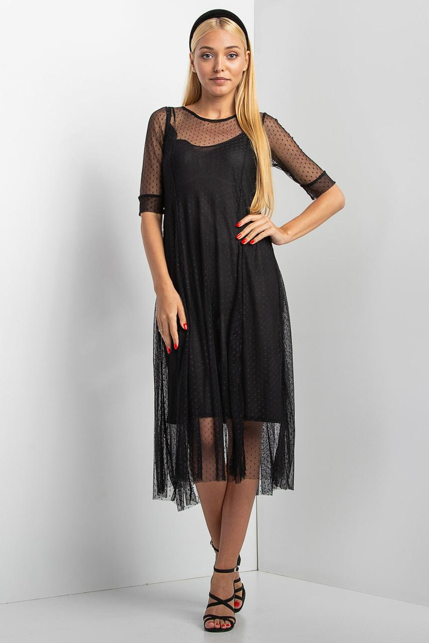 Черное платье NIKA из прозрачной сетки в горох