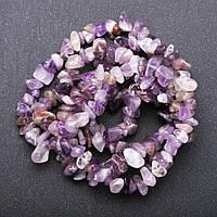 Бусины натуральный камень на нитке Аметист крошка d-7-9мм(+-) L-85см