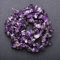 Бусины натуральный камень Аметист на нитке крошка d-5-8мм(+-) L-85см