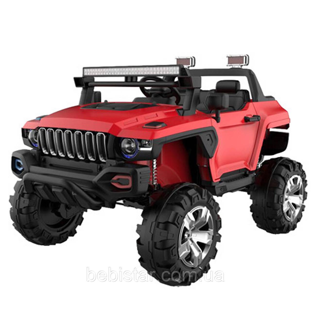 Джип электромобиль красный двухместный деткам 3-8 лет с пультом, аккумулятор 1*12V10AH, мотор 2*40W с МР3