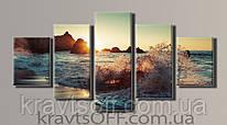 """Модульная картина на холсте из 5-ти частей """"Морской прибой"""" ( 64.5х128 см )"""