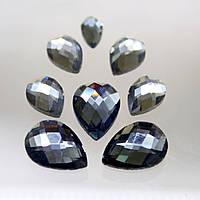 Стразы для инкрустации (стекло). Цвет Black Diamond.Размер 10х14мм.Цена за 1шт.