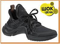 Женские стильные кроссовки Louis Vuitton Sneakers Triple Black (Луи Витон, полностью черные)