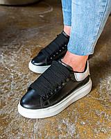 Кроссовки Alexander McQueen черные с белым (ТОП реплика), фото 1