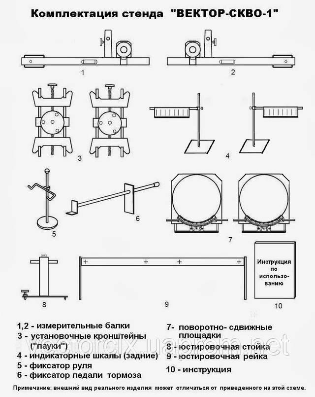Комплектация стенда лазерного развал-схождения ВЕКТОР-СКВО-1