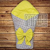 Летний конверт одеяло плед 80х80 на лето детский на выписку новорожденных из роддома тонкий 4704 Желтый