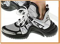 Женские стильные кроссовки Louis Vuitton Sneakers Silver Black (Луи Витон, серые / черные)