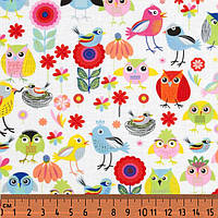 Птички, совы, цветы - разноцветные. Хлопок 100%. FA-7