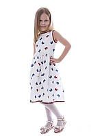Платье детское летнее белое хлопок бабочки