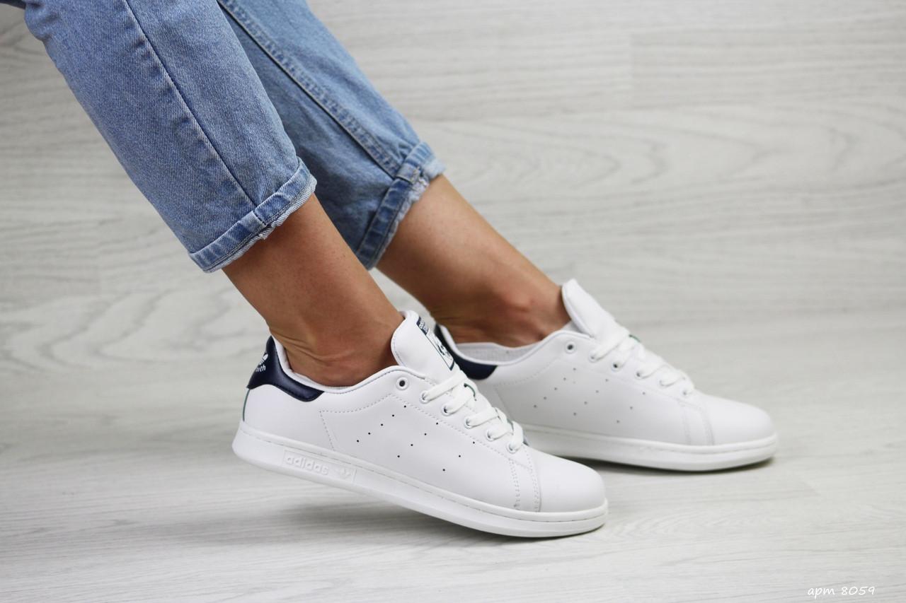 Кроссовки женские Adidas Stan Smith белые с темно синим 39р