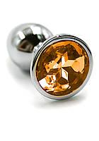 Анальная пробка металлическая с оранжевым камнем А-1148