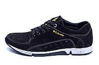 Мужские кожаные летние кроссовки, перфорация Columbia Black (реплика), фото 1