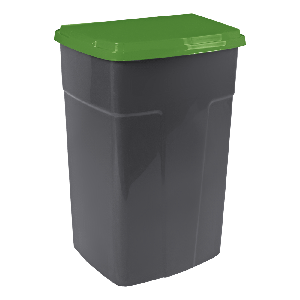 Контейнер для мусора Алеана 90 л Серый с зеленой крышкой