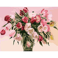 Картина по номерам.  Букеты Тюльпаны в вазе 40х50см арт. КНО1072