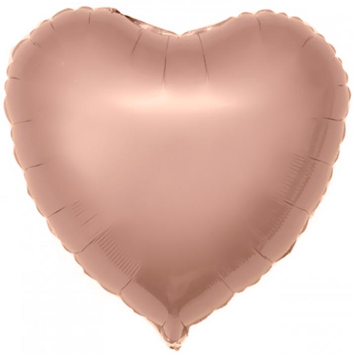 Agura Фольгированный Шар 19''/48 см, Сердце, Розовое золото
