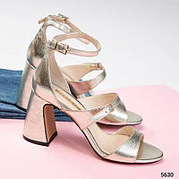 36, 37 размер Красивые женские золотистые босоножкина каблуке натур.кожа