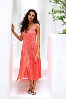 Коралловое ажурное вязаное платье на завязках АРТ-147