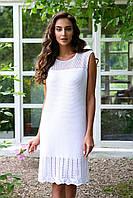 Белое прямое вязаное платье АРТ-143