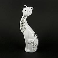 """Статуэтка белая кошка """"Юность"""" украшена фрагментально HYS21310"""
