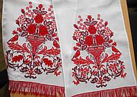 Вышитый свадебный рушник Цветок счастья. Эффект ручной вышивки.